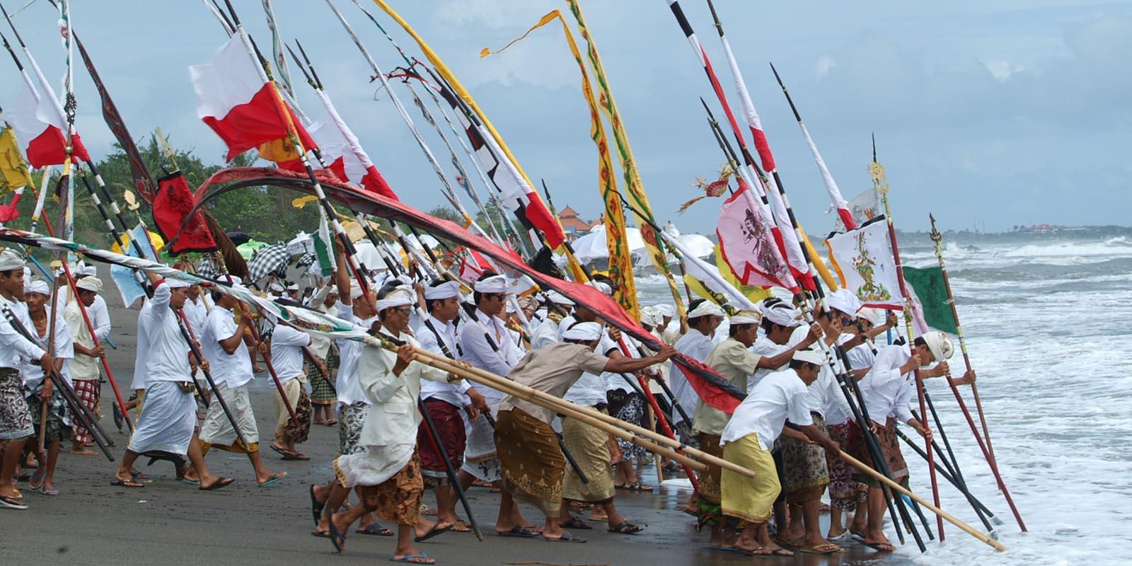 Melasti ceremony in Seseh Beach